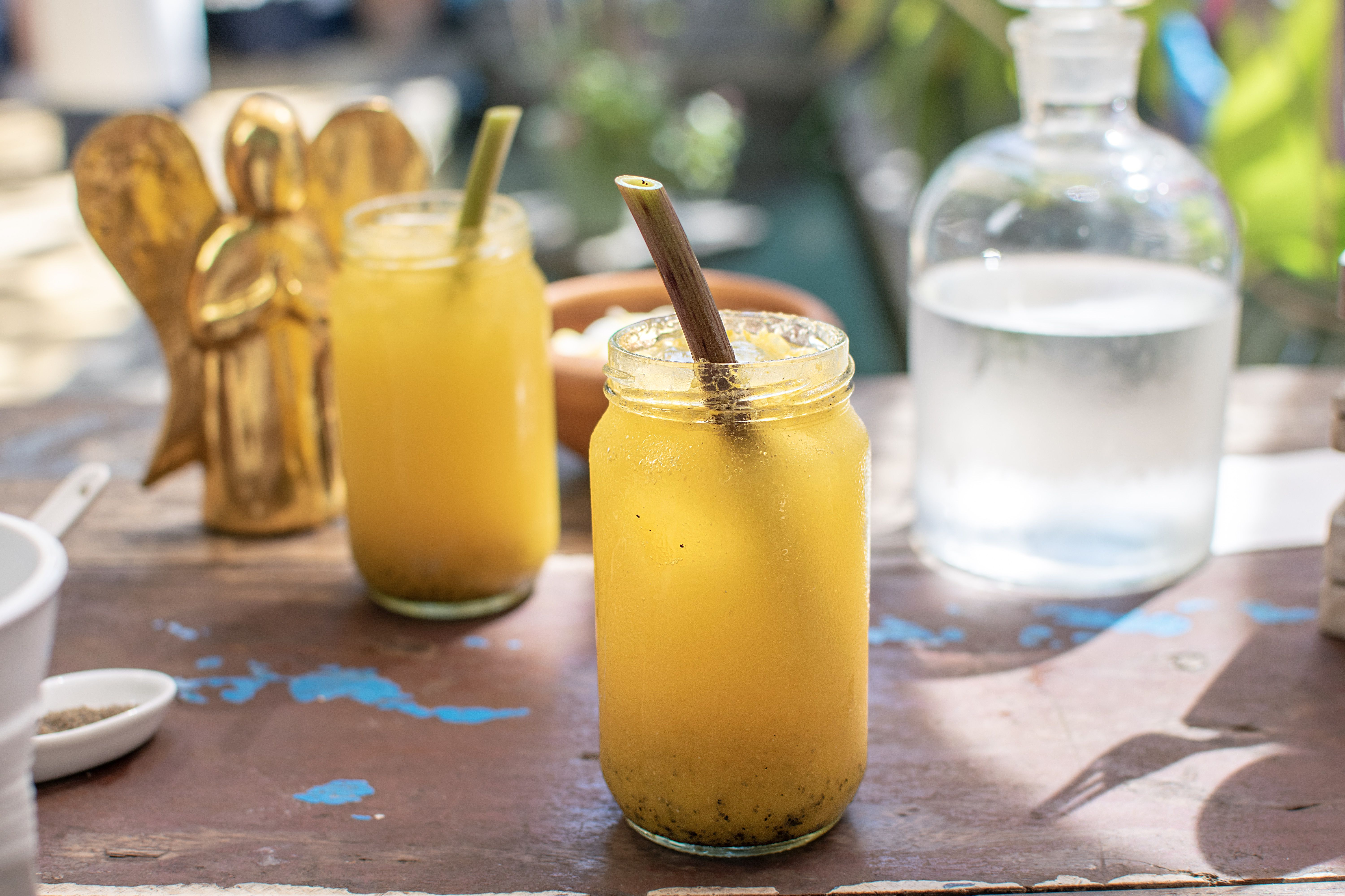 fruit smoothie with eco natural drinking straw
