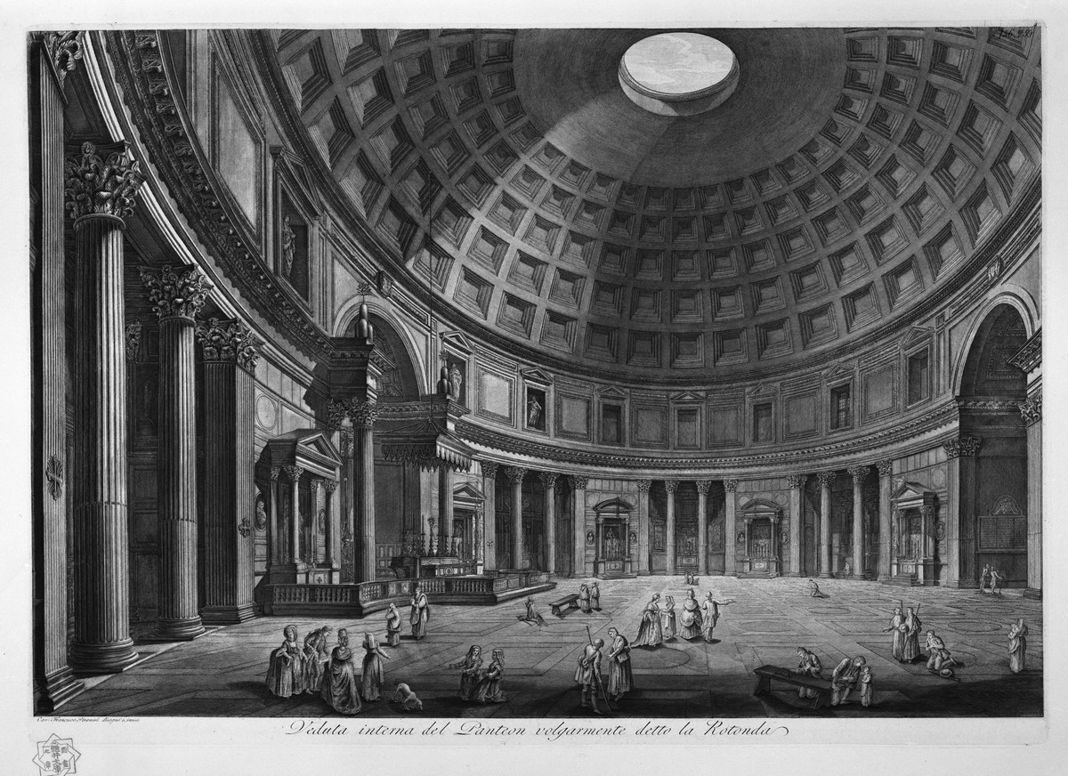 The Pantheon in Rome, built around 118-128 AD; View of the interior of the Pantheon, 1768; Piranesi Francesco (1758 - 1810). (Copyright: National Museum of Castel Sant'Angelo)