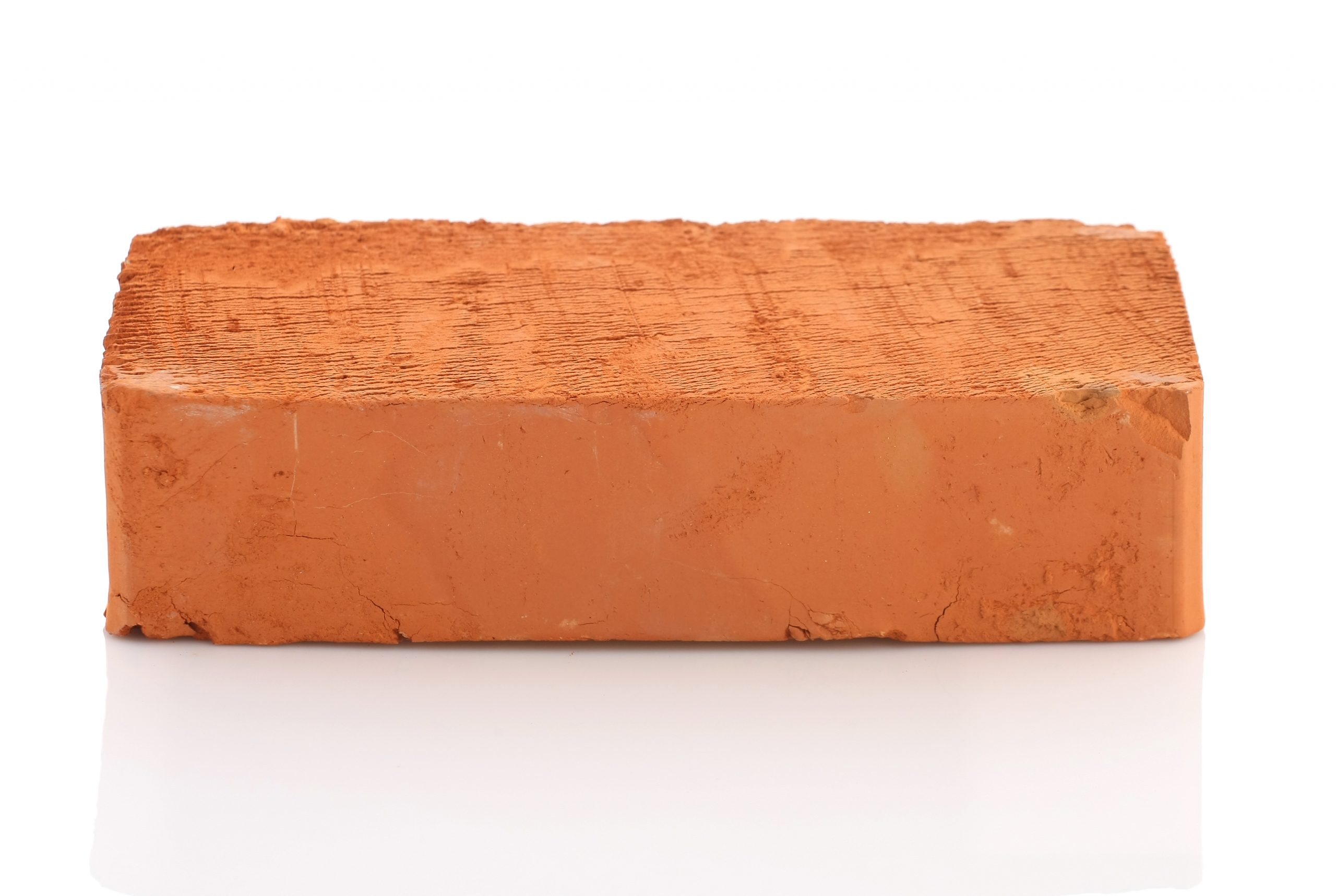 Single red brick isolated